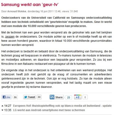 Samsung GeurTV artikel