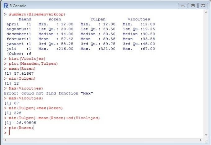 R samenvatting databestand en statistische functies.