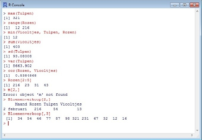 Overige statistische functies R.