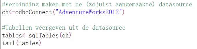 Connectie datasource en tabellen R