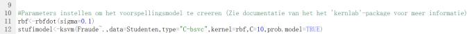 RD2 - Parameters instellen om vorospellingsmodel te creeren